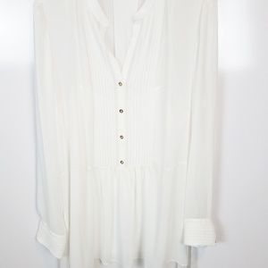 XL Tahari White Blouse Gold Buttons
